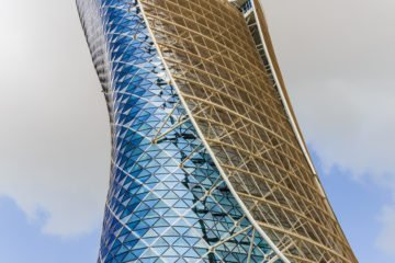 ABU DHABI, UAE - NOVEMBER 5, 2013: The Capital Gate Tower in Abu Dhabi, This is certified as the World's Furthest Leaning Manmade in the world.